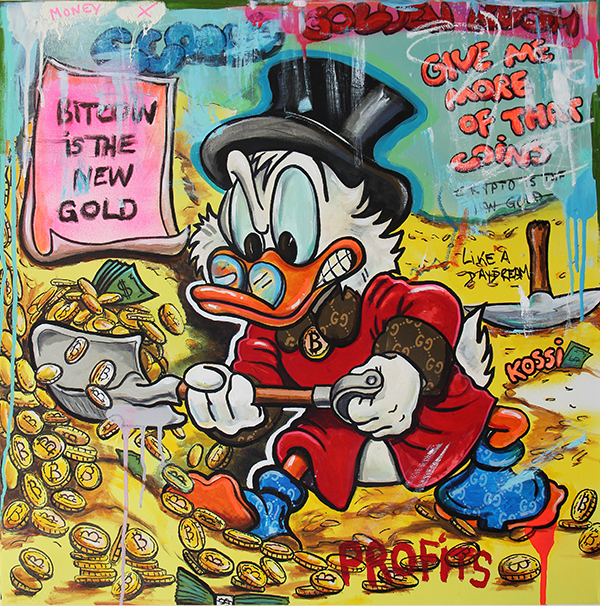 Scrooge McDuck stacking bitcoin